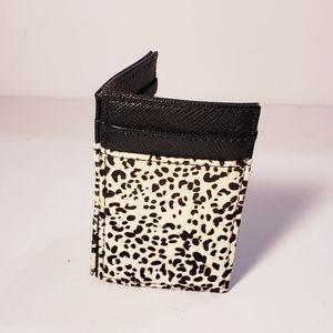 J. Crew Leather Cheetah Print Card Holder
